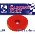 Rubber washer Red 20mm x 6mm x 4mm  (Pkt x 6)